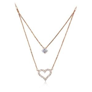 Rose gold duplexes crystal heart necklace